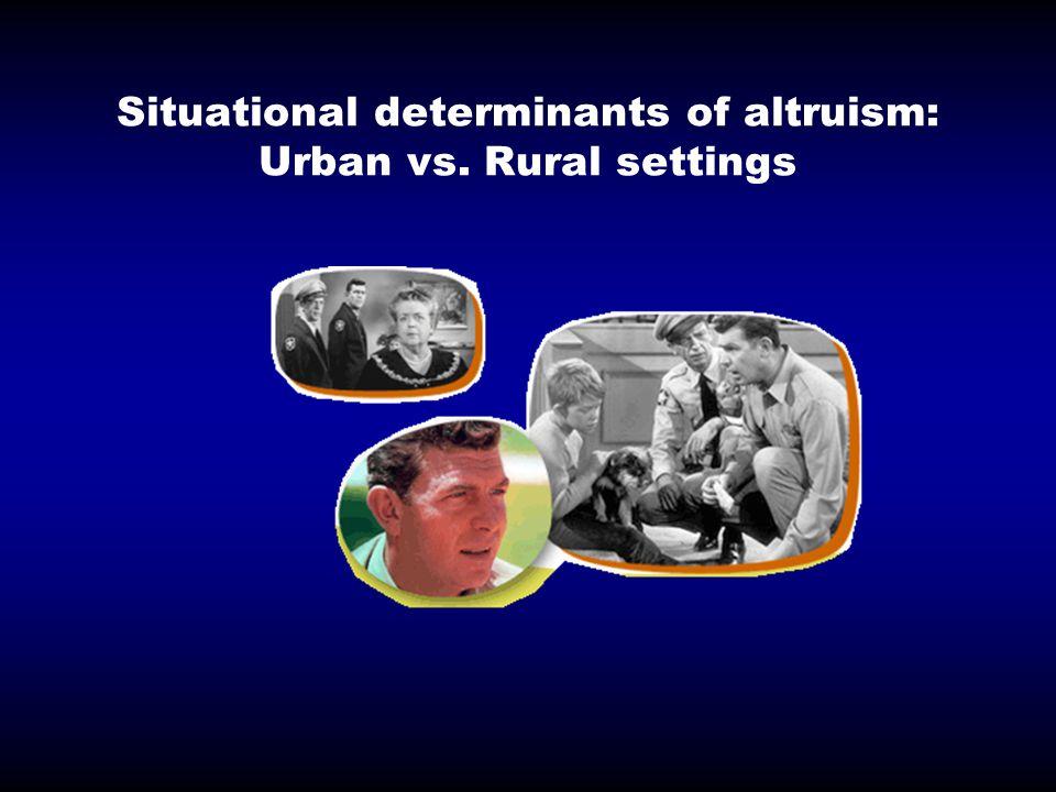 Situational determinants of altruism: Urban vs. Rural settings