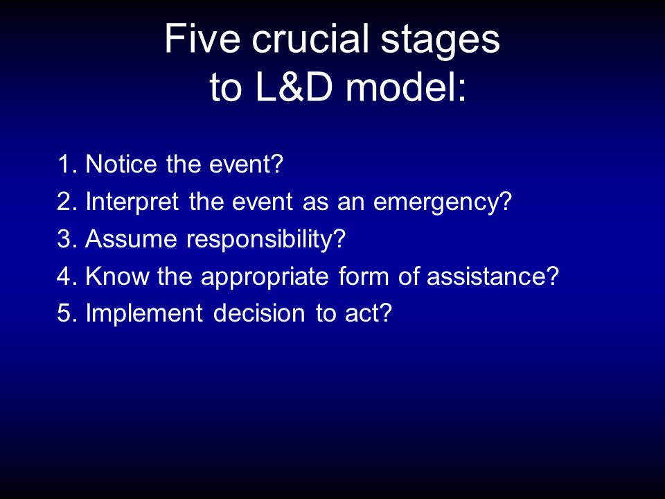 Five crucial stages to L&D model: 1. Notice the event.