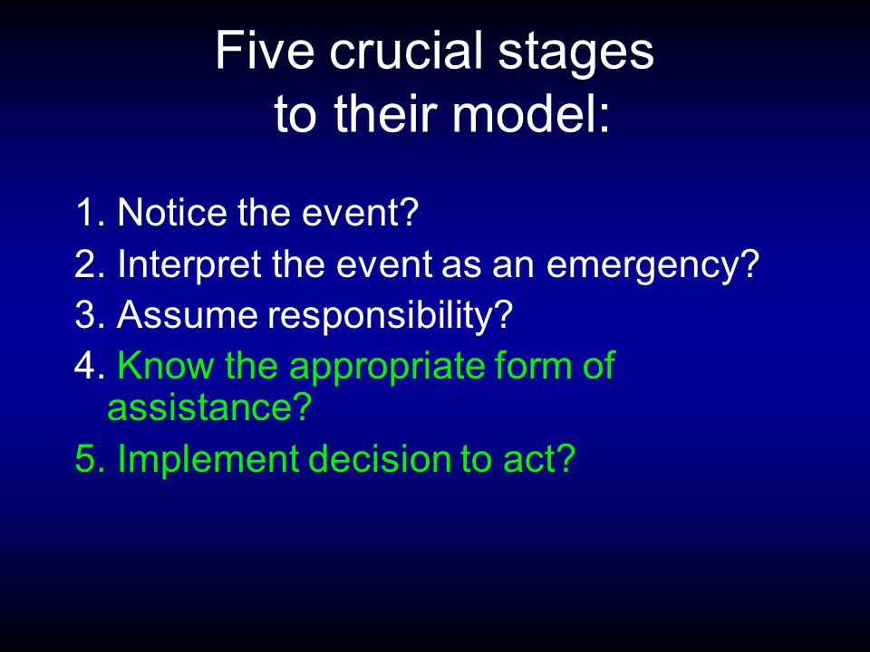 Five crucial stages to their model: 1. Notice the event.