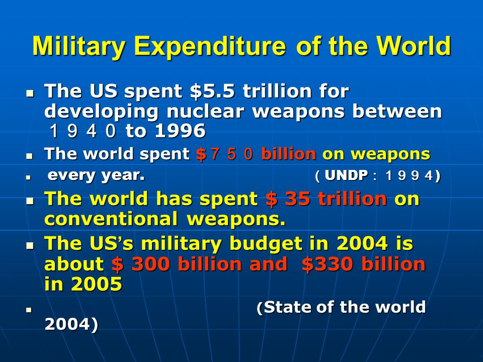 Military Expenditure of the World The US spent $5.5 trillion for developing nuclear weapons between 1940 to 1996 The US spent $5.5 trillion for developing nuclear weapons between 1940 to 1996 The world spent $ 750 billion on weapons The world spent $ 750 billion on weapons every year.