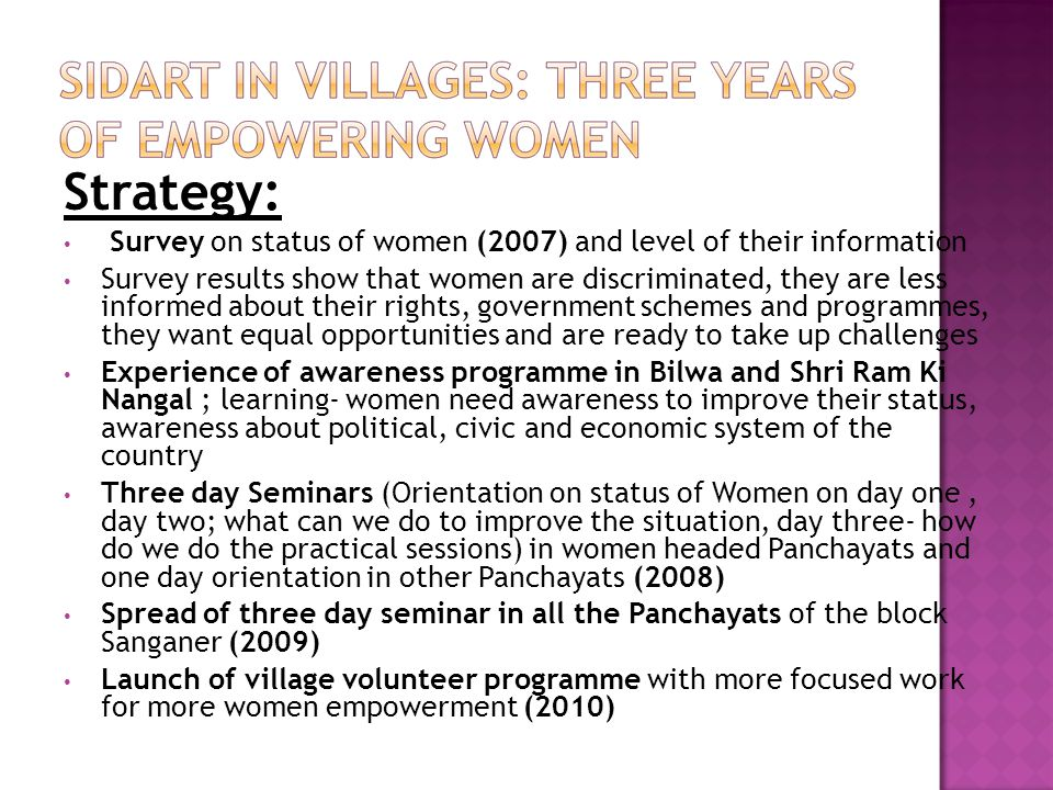 Strategy: Survey on status of women (2007) and level of their information Survey results show that women are discriminated, they are less informed abo