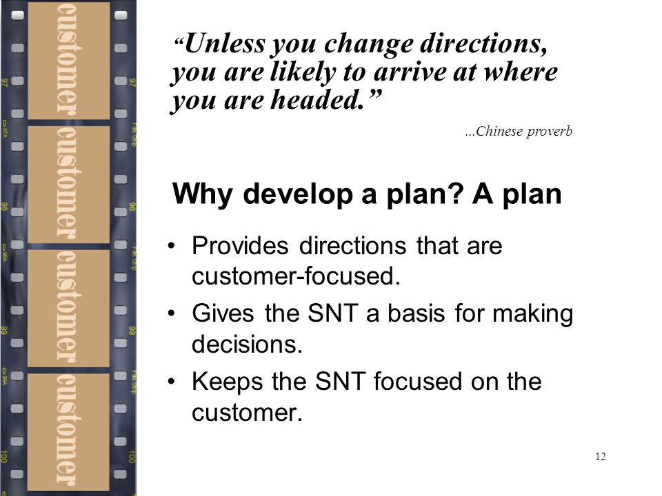12 Why develop a plan. A plan Provides directions that are customer-focused.