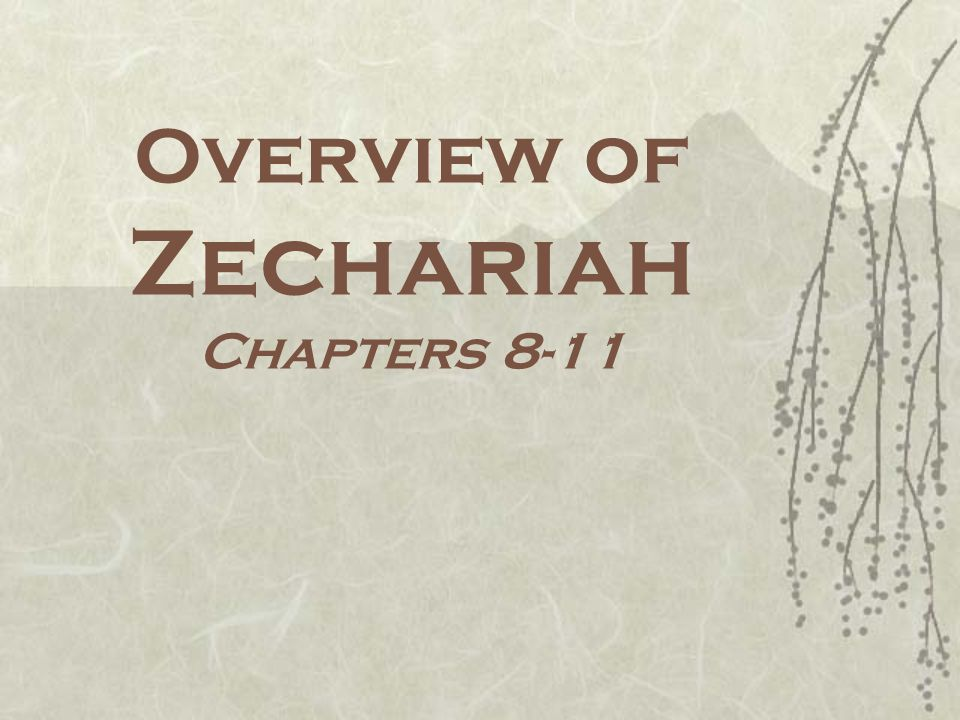 Overview of Zechariah Chapters 8-11