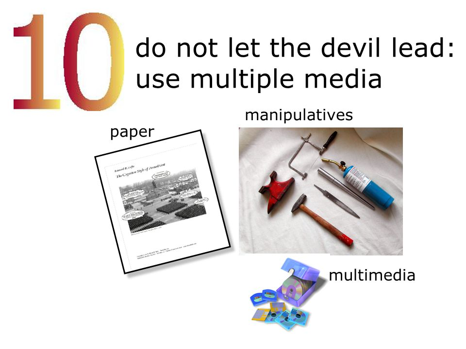 do not let the devil lead: use multiple media paper manipulatives multimedia