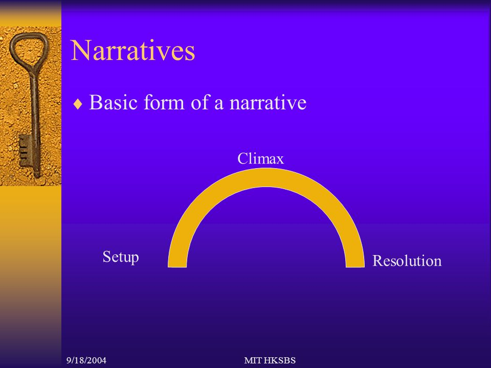 9/18/2004MIT HKSBS Narratives  Basic form of a narrative Setup Climax Resolution