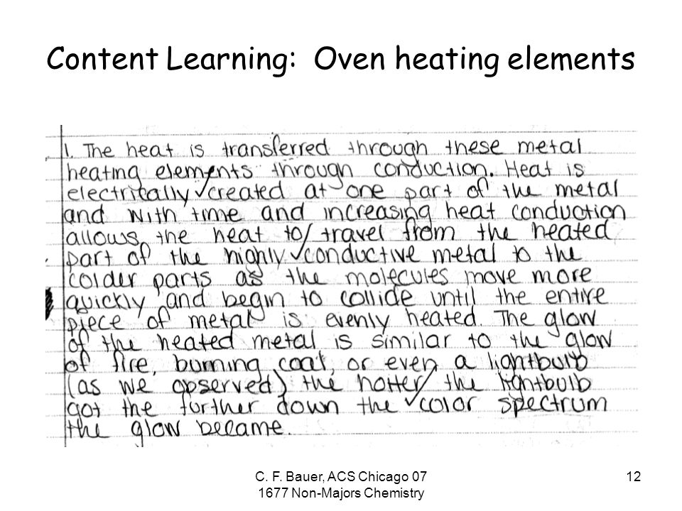 C. F. Bauer, ACS Chicago 07 1677 Non-Majors Chemistry 12 Content Learning: Oven heating elements