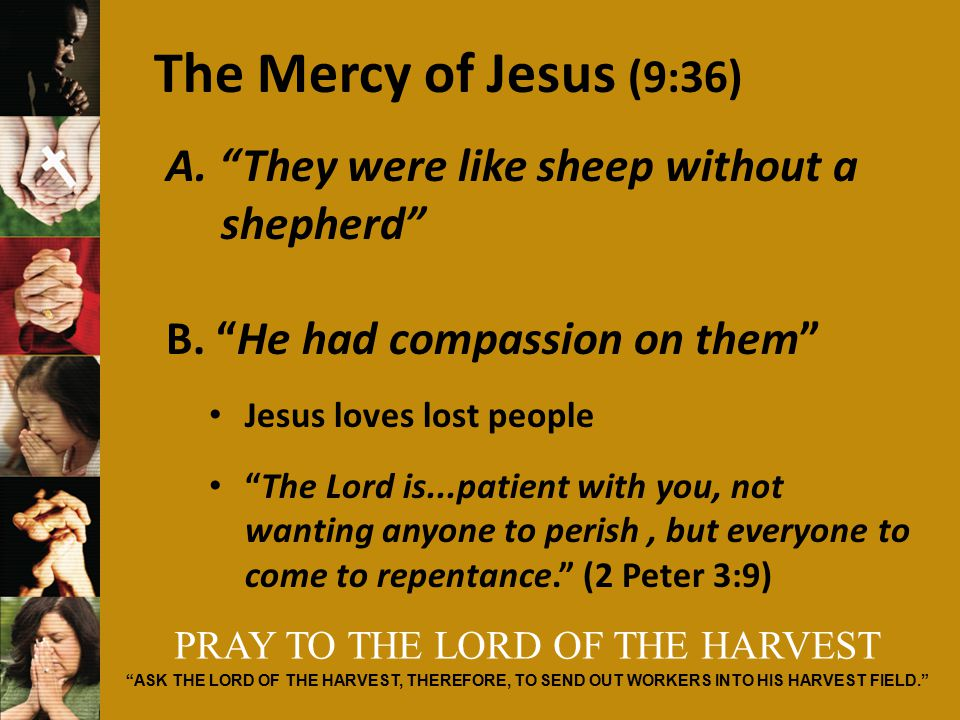 PRAY TO THE LORD OF THE HARVEST ASK THE LORD OF THE HARVEST, THEREFORE, TO SEND OUT WORKERS INTO HIS HARVEST FIELD. The Mercy of Jesus (9:36) A.