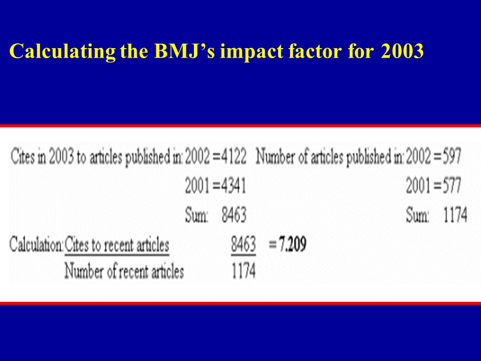 Calculating the BMJ's impact factor for 2003