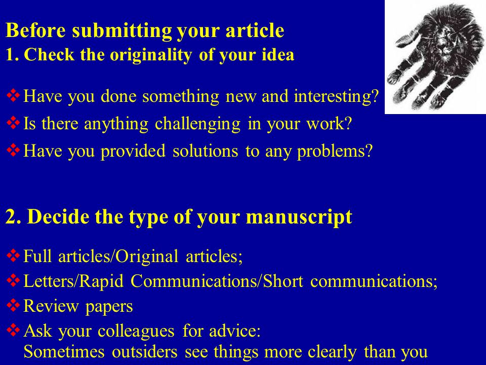 Before submitting your article 1.