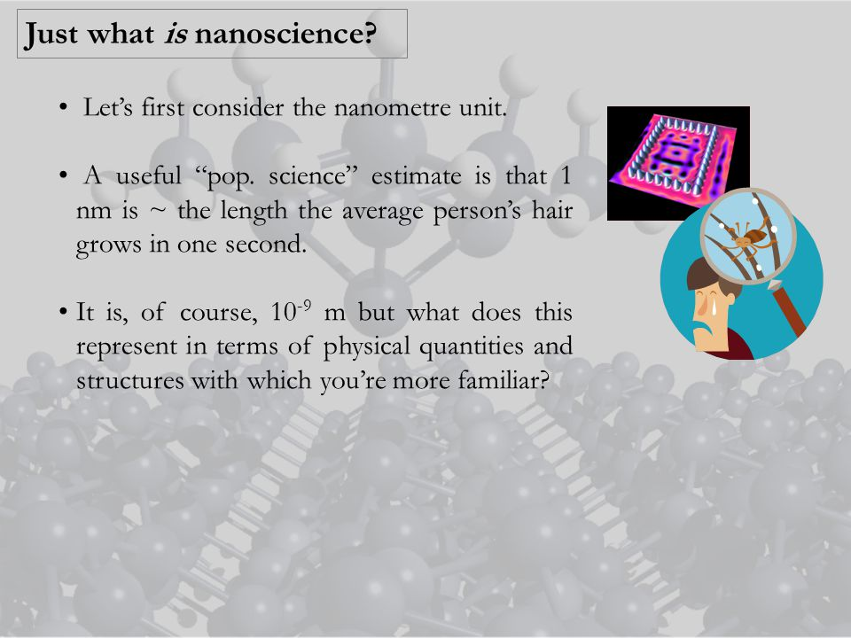 Just what is nanoscience. Let's first consider the nanometre unit.