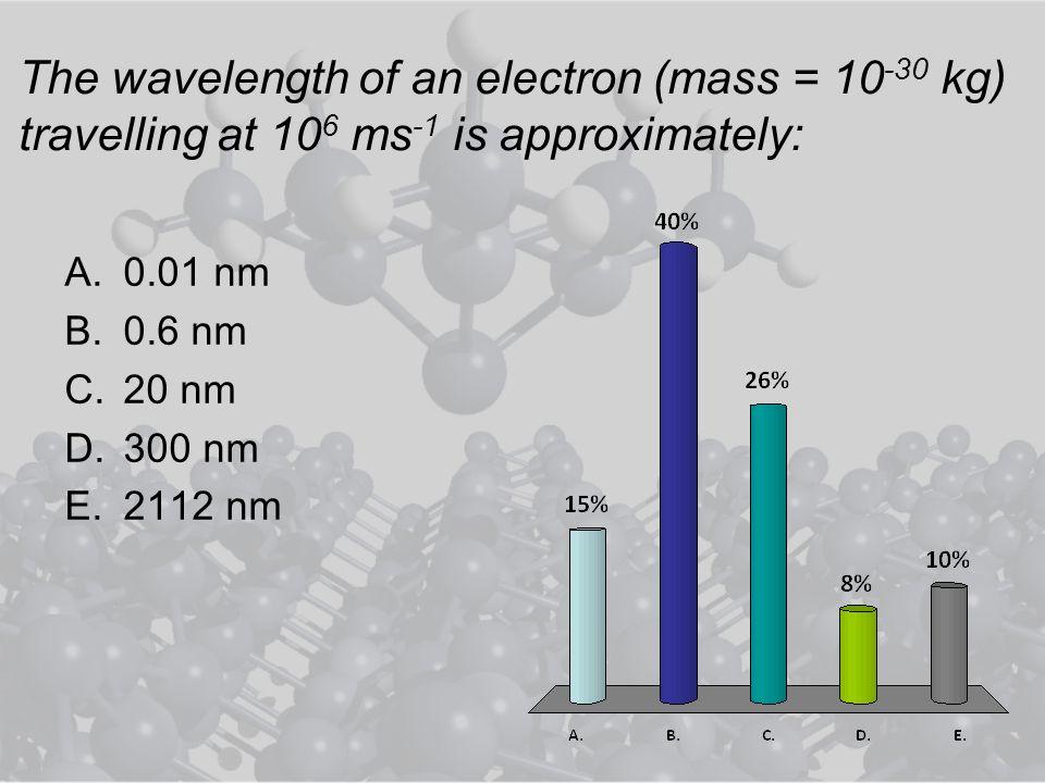 The wavelength of an electron (mass = 10 -30 kg) travelling at 10 6 ms -1 is approximately: A.0.01 nm B.0.6 nm C.20 nm D.300 nm E.2112 nm