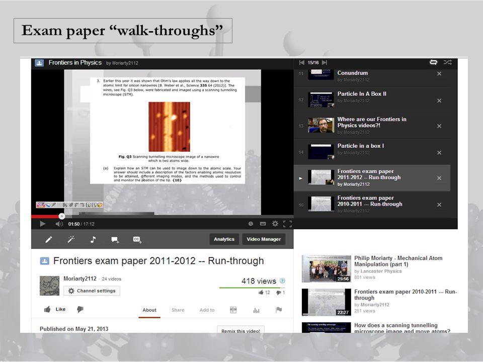 Exam paper walk-throughs