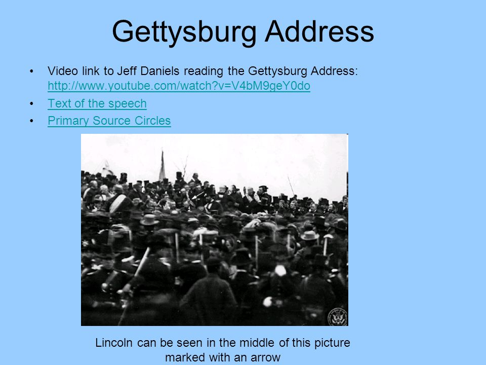Gettysburg Address Video link to Jeff Daniels reading the Gettysburg Address: http://www.youtube.com/watch?v=V4bM9geY0do http://www.youtube.com/watch?