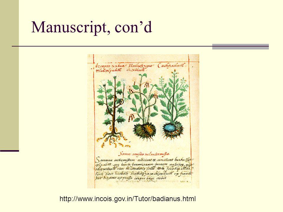 Manuscript, con'd http://www.incois.gov.in/Tutor/badianus.html