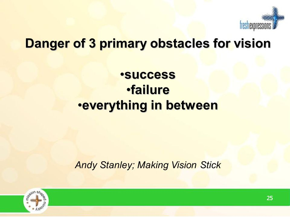 25 Danger of 3 primary obstacles for vision successsuccess failurefailure everything in betweeneverything in between Andy Stanley; Making Vision Stick