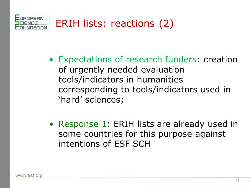 www.esf.org 11 ERIH lists: reactions (2) Expectations of research funders: creation of urgently needed evaluation tools/indicators in humanities corresponding to tools/indicators used in 'hard' sciences; Response 1: ERIH lists are already used in some countries for this purpose against intentions of ESF SCH
