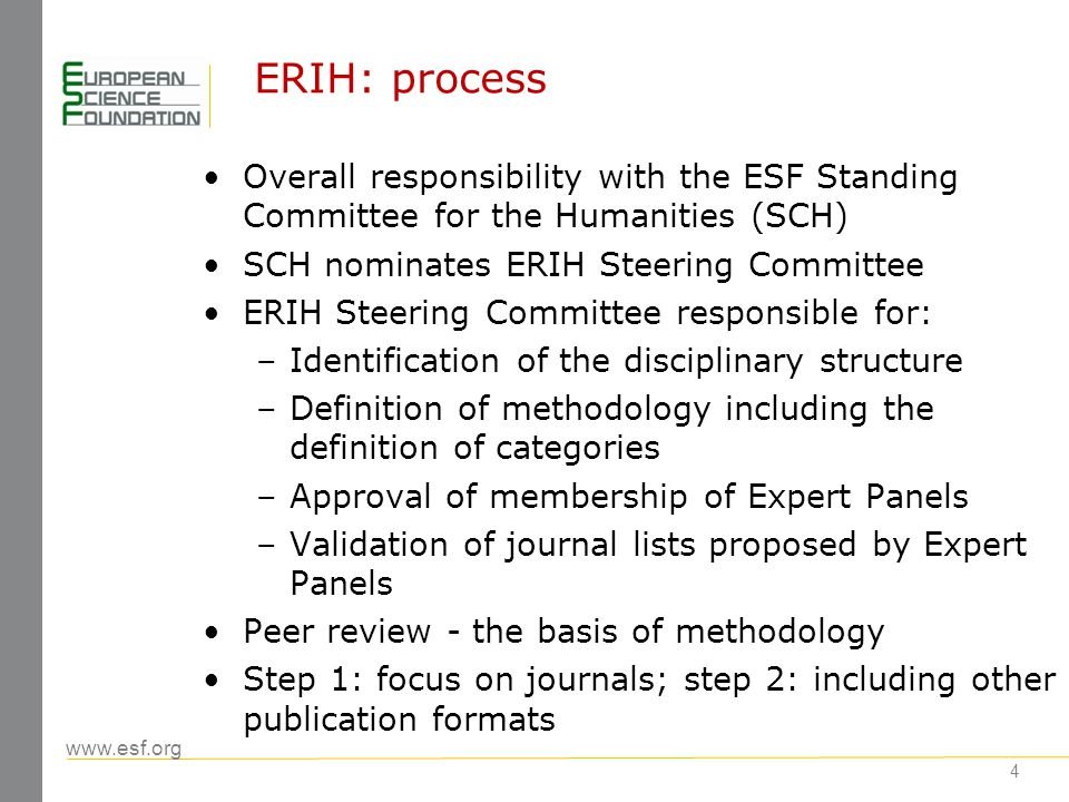 www.esf.org 15 Beyond ERIH: Recommendations of the meeting Liaise with the outcomes of the European Scoping Project Explore collaboration with commercial providers Implement European coordination of quality assurance under the responsibility of ESF Note importance of ERIH for raising standards of scholarly publishing in the humanities (peer review) Enhance communication with researchers