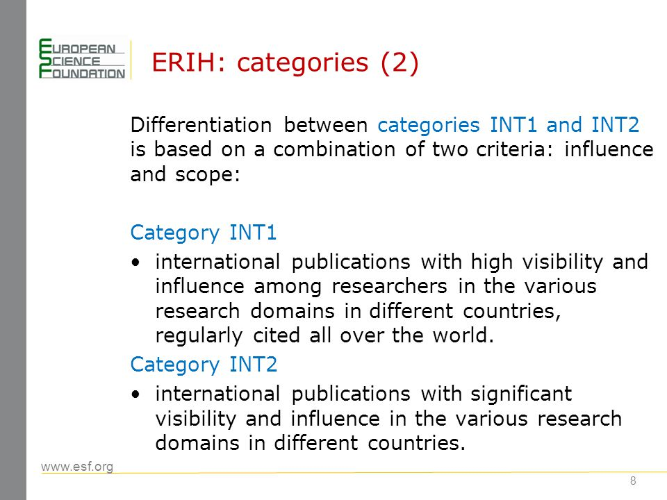www.esf.org 8 ERIH: categories (2) Differentiation between categories INT1 and INT2 is based on a combination of two criteria: influence and scope: Category INT1 international publications with high visibility and influence among researchers in the various research domains in different countries, regularly cited all over the world.