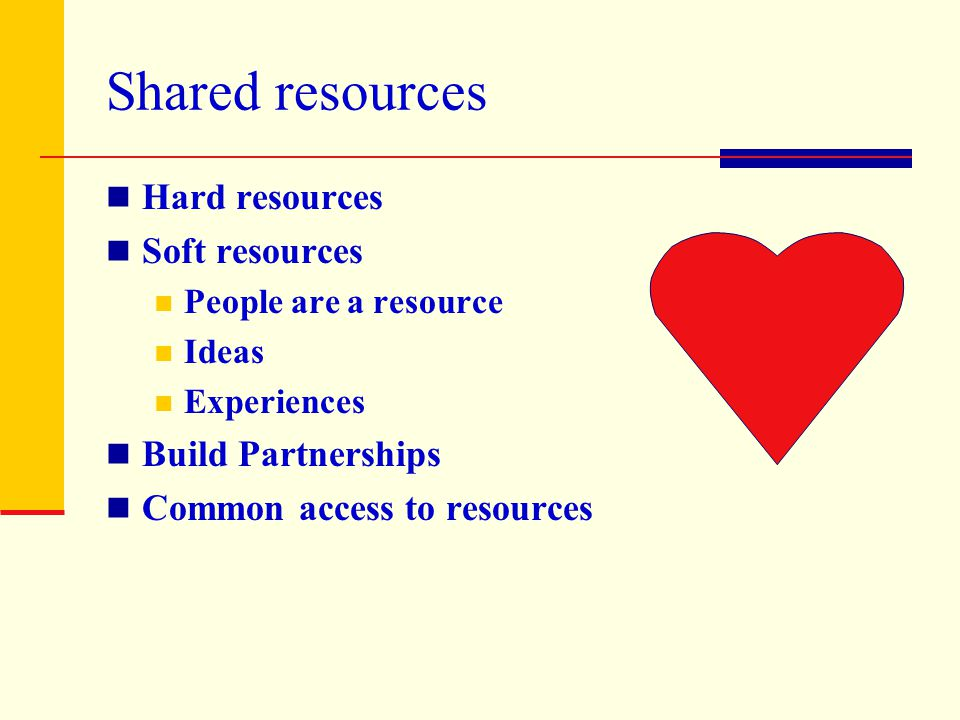 Shared resources Hard resources Soft resources People are a resource Ideas Experiences Build Partnerships Common access to resources