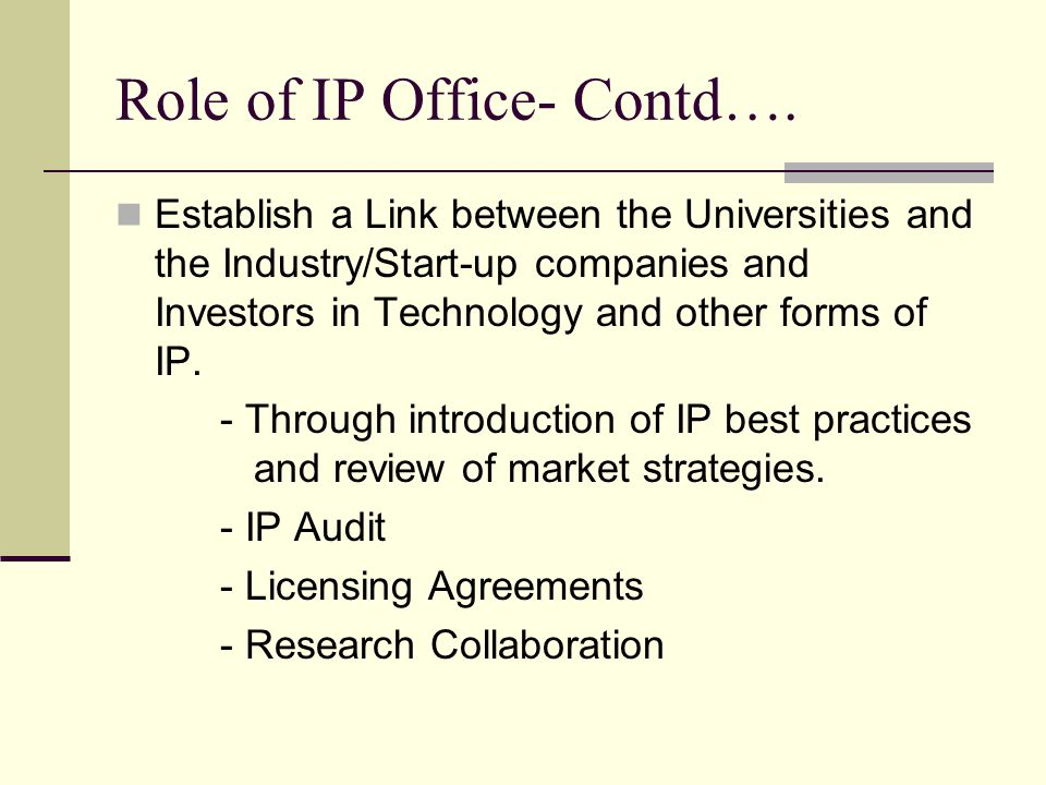 Role of IP Office- Contd….