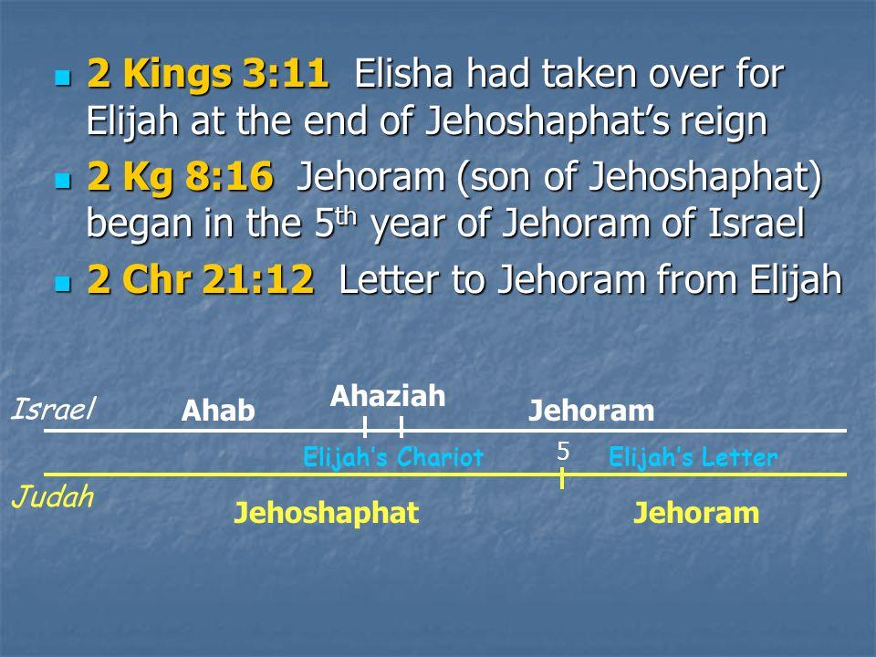 2 Kings 3:11 Elisha had taken over for Elijah at the end of Jehoshaphat's reign 2 Kings 3:11 Elisha had taken over for Elijah at the end of Jehoshaphat's reign 2 Kg 8:16 Jehoram (son of Jehoshaphat) began in the 5 th year of Jehoram of Israel 2 Kg 8:16 Jehoram (son of Jehoshaphat) began in the 5 th year of Jehoram of Israel 2 Chr 21:12 Letter to Jehoram from Elijah 2 Chr 21:12 Letter to Jehoram from Elijah Ahab Jehoram Ahaziah Jehoshaphat Jehoram 5 Elijah's Chariot Elijah's Letter Israel Judah