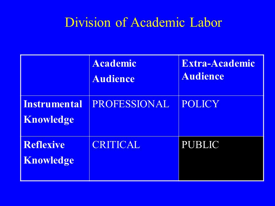 Academic Audience Extra-Academic Audience Instrumental Knowledge PROFESSIONALPOLICY Reflexive Knowledge CRITICALPUBLIC Division of Academic Labor