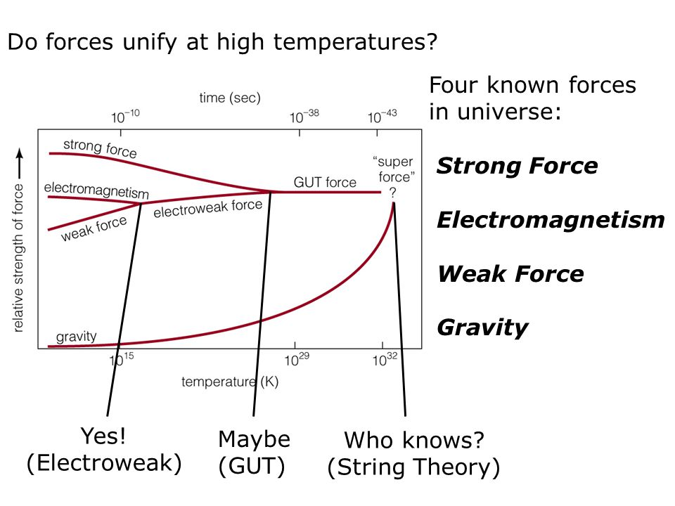 Four known forces in universe: Strong Force Electromagnetism Weak Force Gravity Do forces unify at high temperatures? Yes! (Electroweak) Maybe (GUT) W