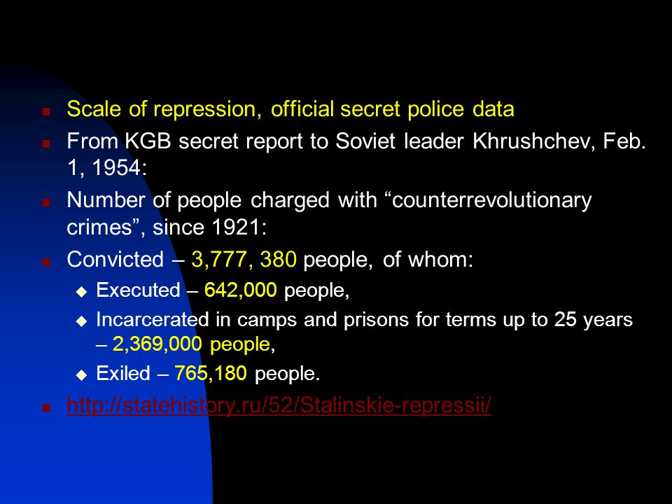 """Scale of repression, official secret police data From KGB secret report to Soviet leader Khrushchev, Feb. 1, 1954: Number of people charged with """"coun"""