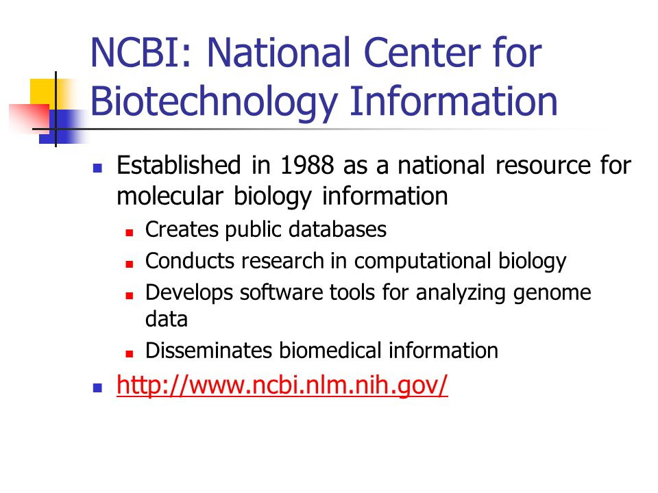 NCBI: National Center for Biotechnology Information Established in 1988 as a national resource for molecular biology information Creates public databases Conducts research in computational biology Develops software tools for analyzing genome data Disseminates biomedical information http://www.ncbi.nlm.nih.gov/