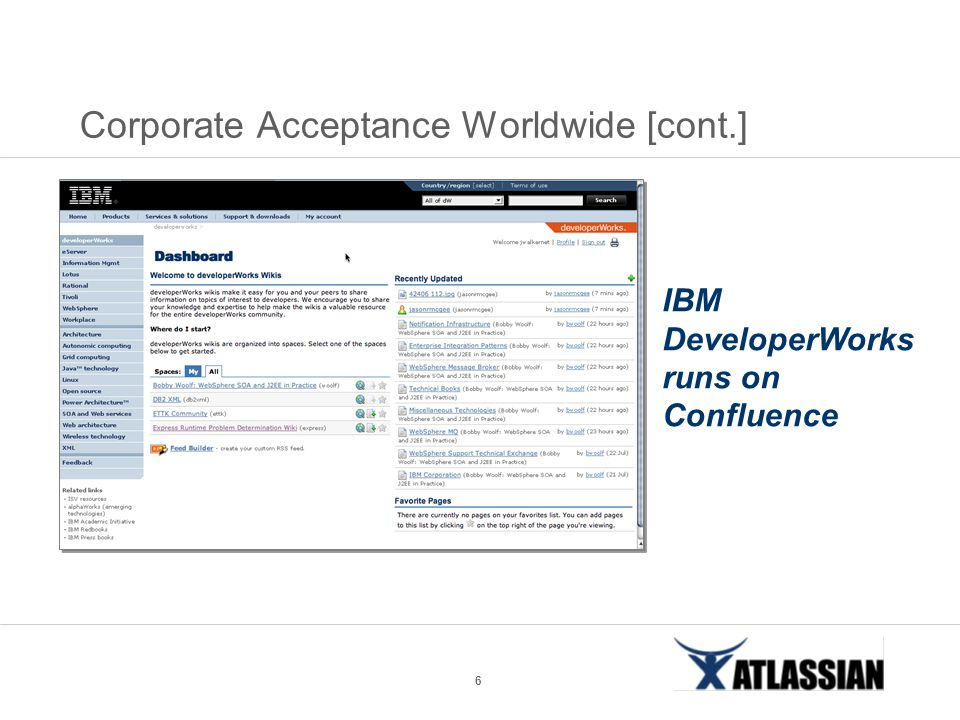 6 Corporate Acceptance Worldwide [cont.] IBM DeveloperWorks runs on Confluence