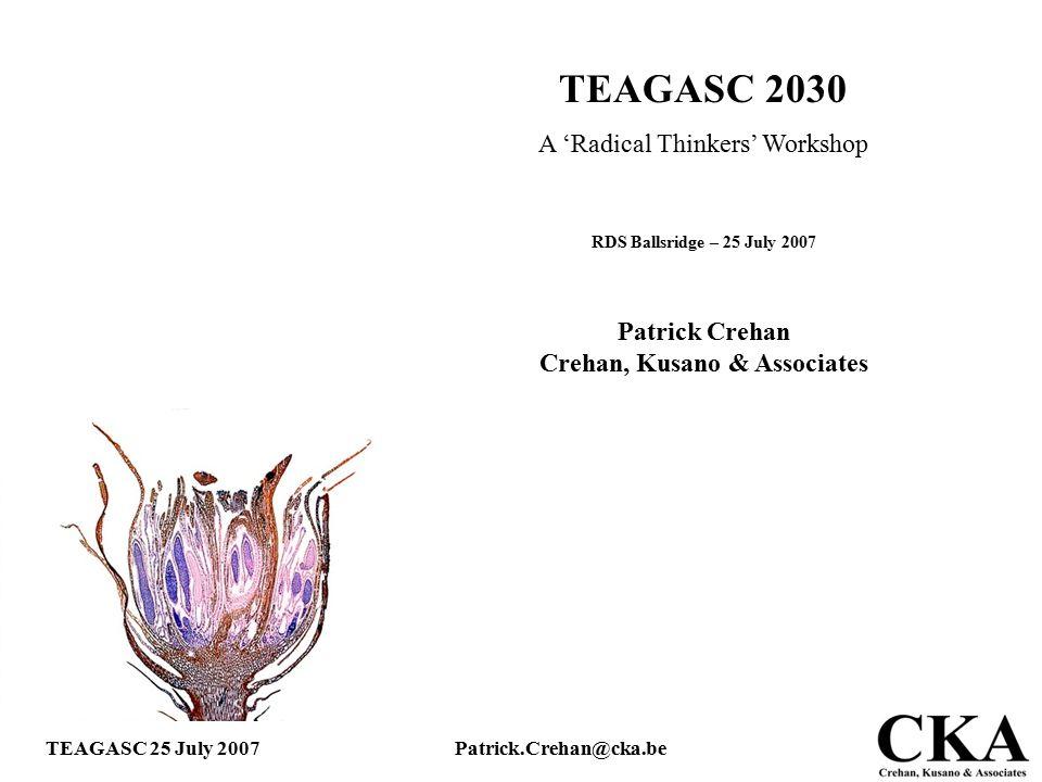 TEAGASC 25 July 2007Patrick.Crehan@cka.be TEAGASC 2030 A 'Radical Thinkers' Workshop RDS Ballsridge – 25 July 2007 Patrick Crehan Crehan, Kusano & Ass