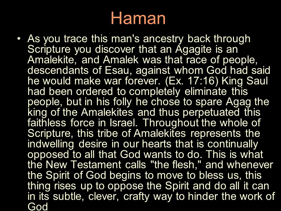 Haman As you trace this man s ancestry back through Scripture you discover that an Agagite is an Amalekite, and Amalek was that race of people, descendants of Esau, against whom God had said he would make war forever.