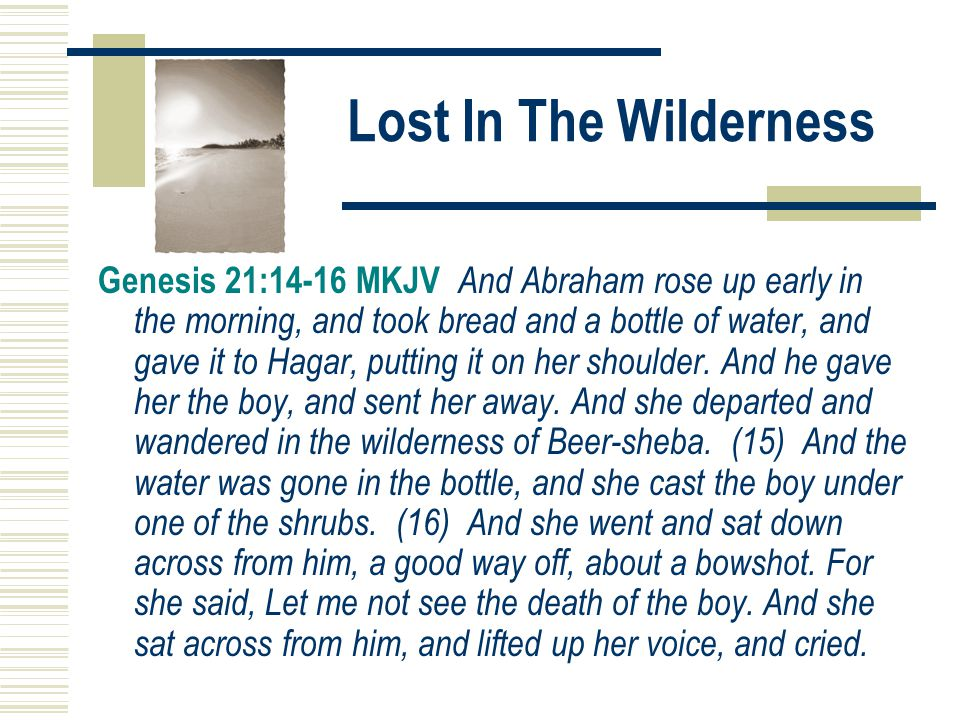 Lost In The Wilderness Genesis 21:14-16 MKJV And Abraham rose up early in the morning, and took bread and a bottle of water, and gave it to Hagar, putting it on her shoulder.