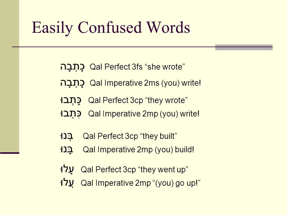 Easily Confused Words כָתְבָה Qal Perfect 3fs she wrote כָתְבָה Qal Imperative 2ms (you) write.