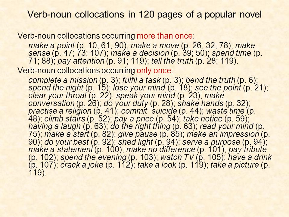 Verb-noun collocations in 120 pages of a popular novel Verb-noun collocations occurring more than once: make a point (p.