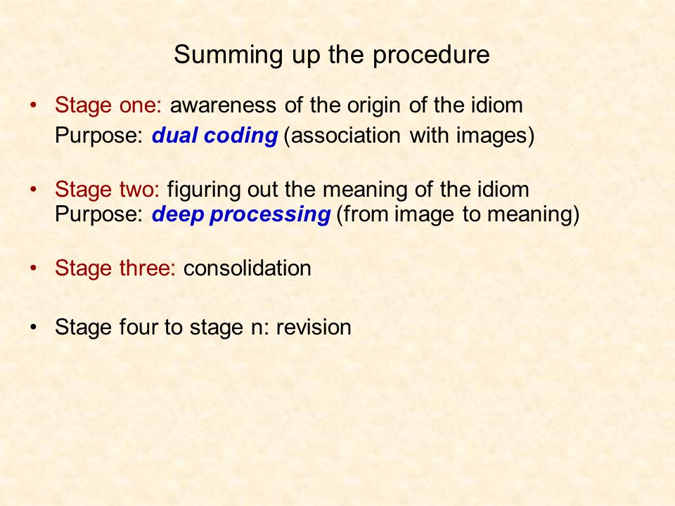 Summing up the procedure Stage one: awareness of the origin of the idiom Purpose: dual coding (association with images) Stage two: figuring out the meaning of the idiom Purpose: deep processing (from image to meaning) Stage three: consolidation Stage four to stage n: revision