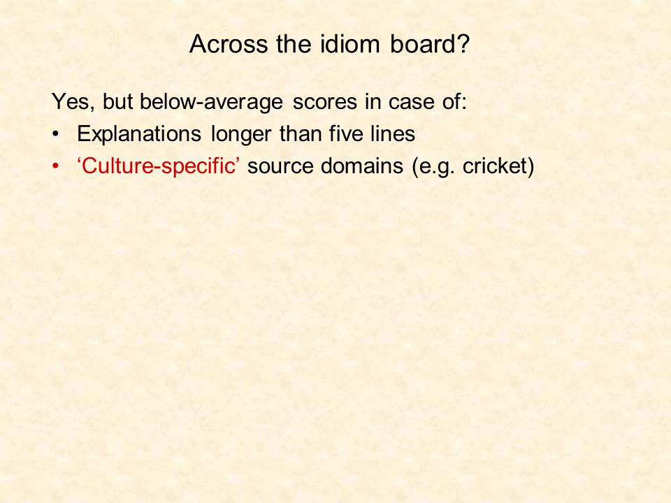 Across the idiom board.