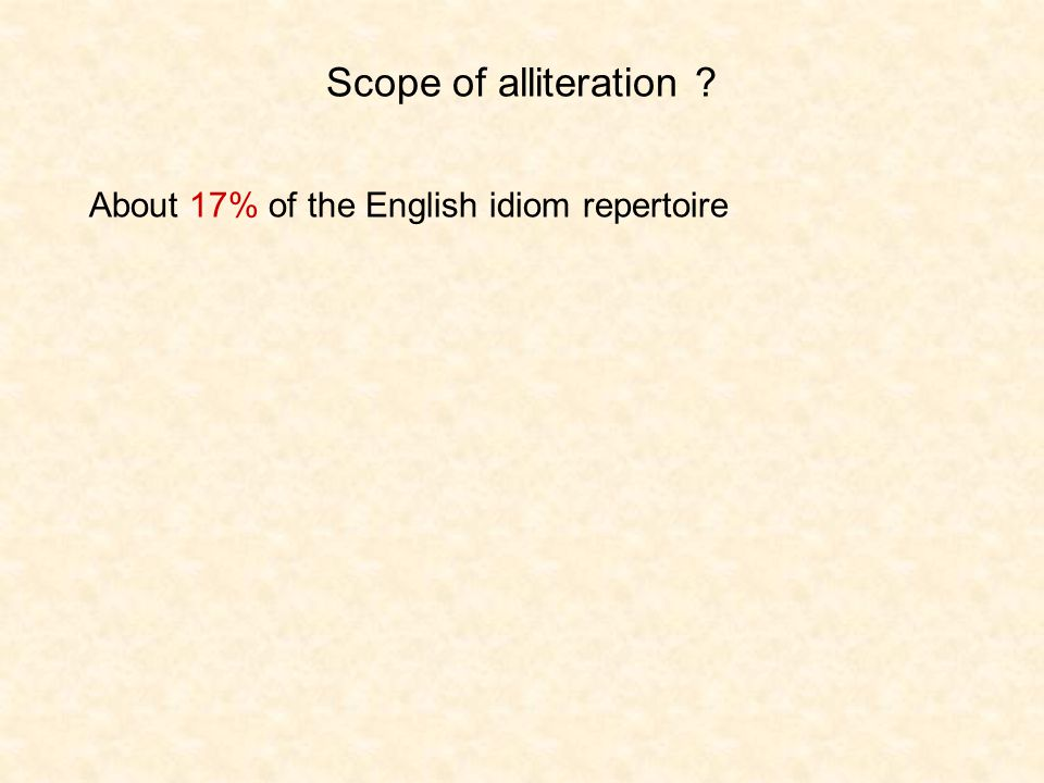 Scope of alliteration About 17% of the English idiom repertoire