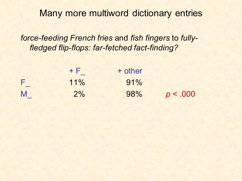 Many more multiword dictionary entries force-feeding French fries and fish fingers to fully- fledged flip-flops: far-fetched fact-finding.