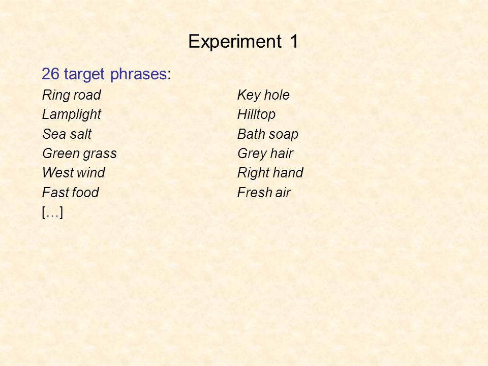 Experiment 1 26 target phrases: Ring roadKey hole LamplightHilltop Sea saltBath soap Green grassGrey hair West windRight hand Fast foodFresh air […]