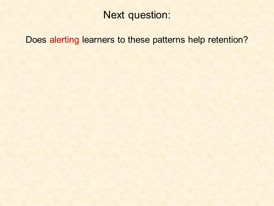Next question: Does alerting learners to these patterns help retention