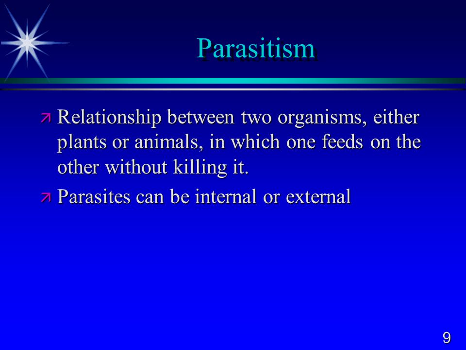 9 Parasitism  Relationship between two organisms, either plants or animals, in which one feeds on the other without killing it.  Parasites can be in