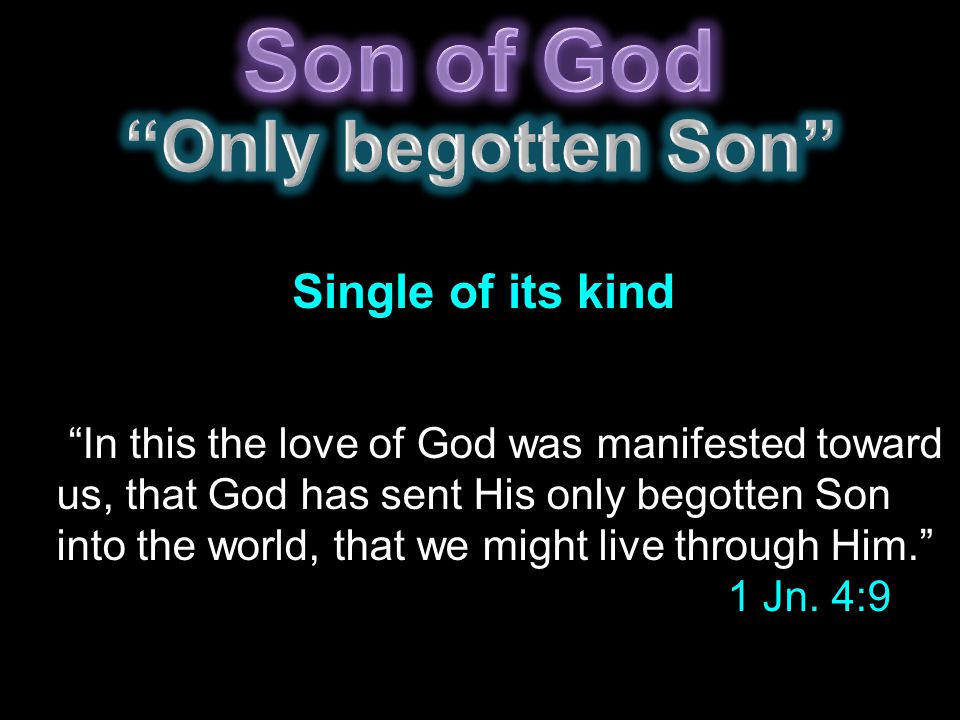In this the love of God was manifested toward us, that God has sent His only begotten Son into the world, that we might live through Him. 1 Jn.