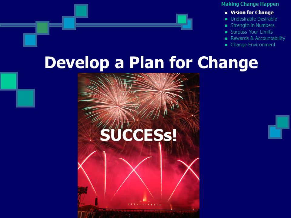 Making Change Happen Vision for Change Undesirable Desirable Strength in Numbers Surpass Your Limits Rewards & Accountability Change Environment Develop a Plan for Change SUCCESs!