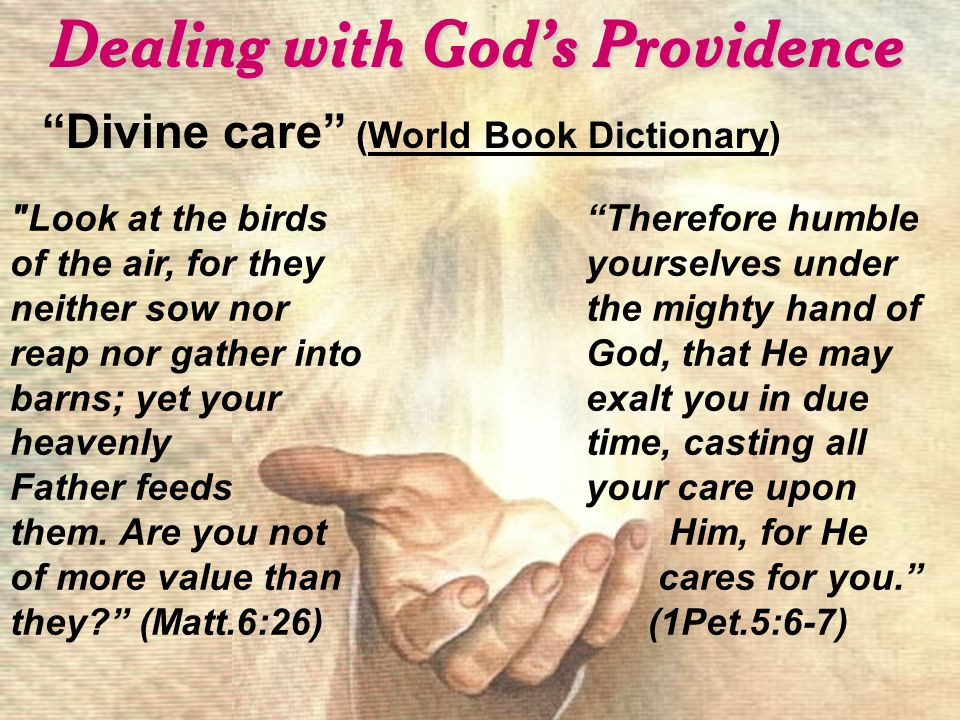 Dealing with God's Providence Divine care (World Book Dictionary) Look at the birds of the air, for they neither sow nor reap nor gather into barns; yet your heavenly Father feeds them.