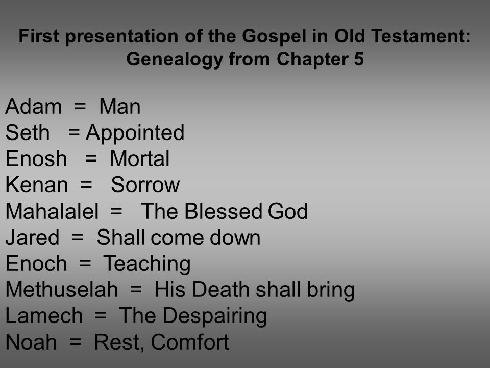 First presentation of the Gospel in Old Testament: Genealogy from Chapter 5 Adam = Man Seth = Appointed Enosh = Mortal Kenan = Sorrow Mahalalel = The