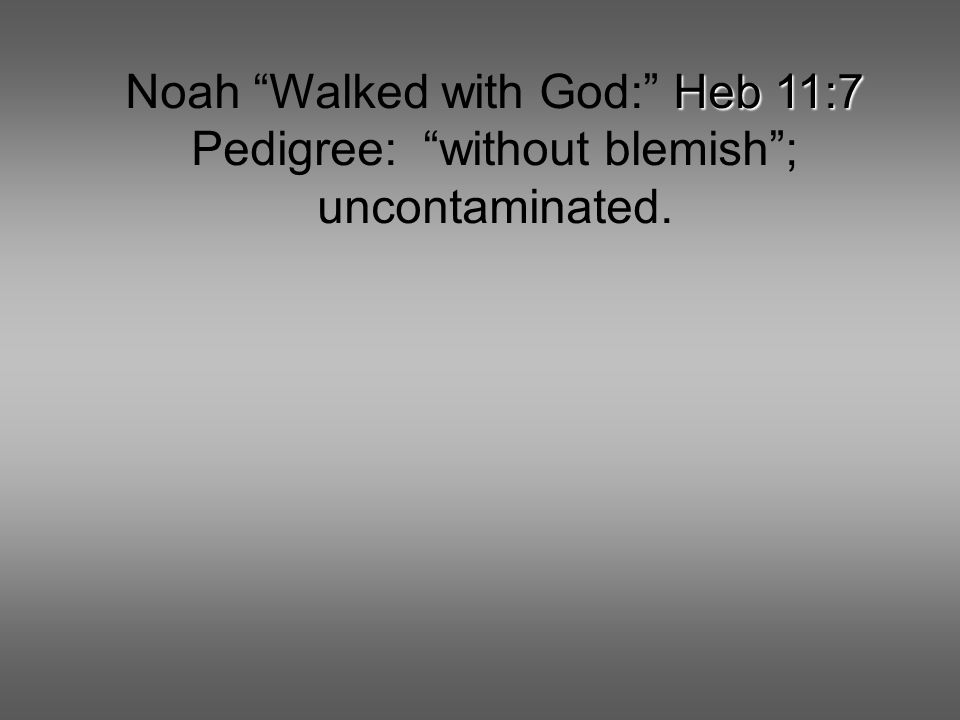 Heb 11:7 Noah Walked with God: Heb 11:7 Pedigree: without blemish ; uncontaminated.