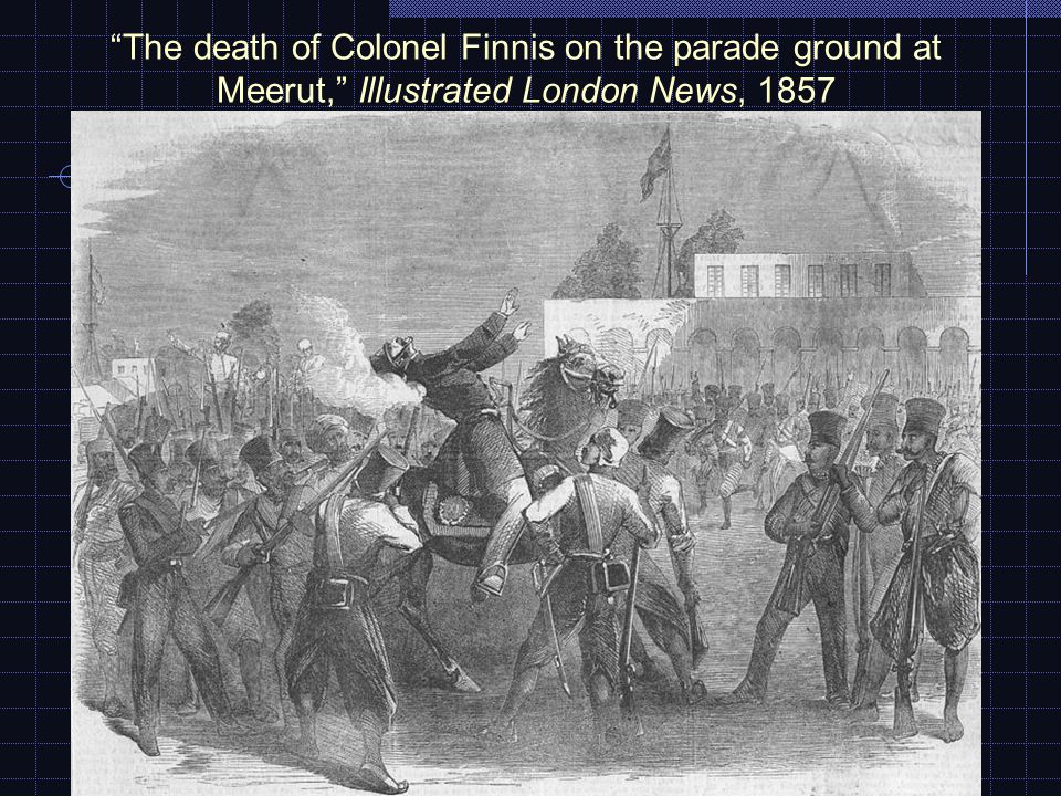 The death of Colonel Finnis on the parade ground at Meerut, Illustrated London News, 1857