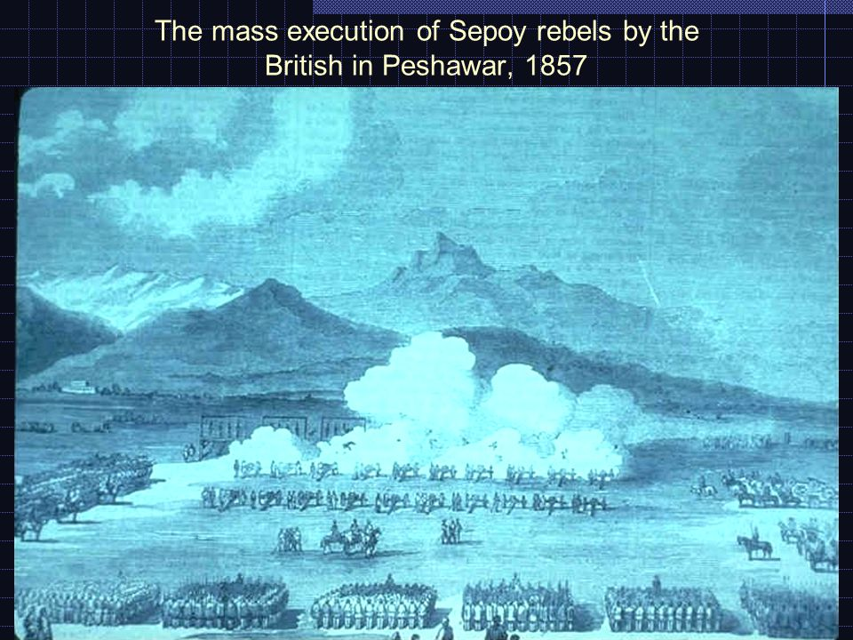 The mass execution of Sepoy rebels by the British in Peshawar, 1857