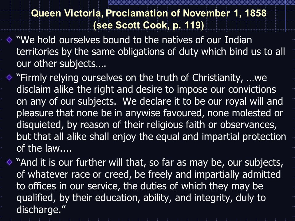 Queen Victoria, Proclamation of November 1, 1858 (see Scott Cook, p.